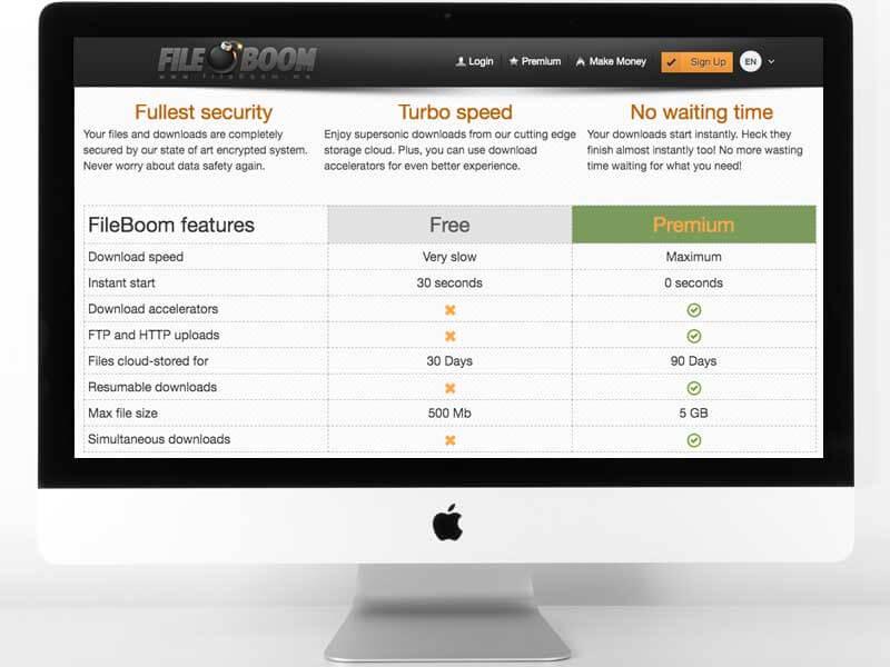 Funzioni screenshot di Filehosting